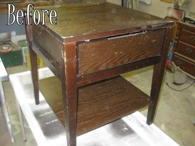 The before- wooden end table