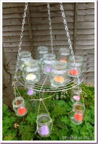 Chandelier made with baby jars