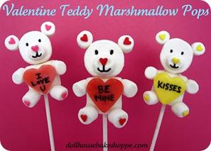 valentine teddy marshmallow pops