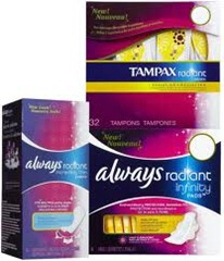 Always Radiant and Tampax Radiant