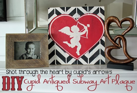 DIY Craft Project - Cupid Valentine Subway Art Plaque