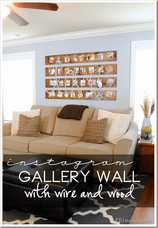 Gallery wall built with wire and wood using instagram pictures