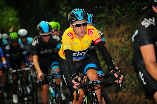 Sir Bradley Wiggins in the peloton