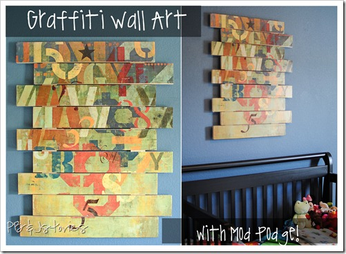 Mod podge, graffiti wall art, boys bedroom