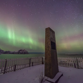 Monument and auroras by Benny Høynes - Landscapes Starscapes ( auroras, snow, monument, wintertime, norway )