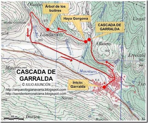 Mapa ruta cascada de Garralda