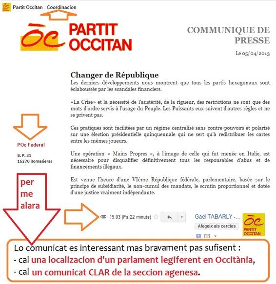 Comunicat del Partit Occitan federal