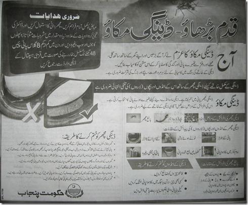 dengue campaign urdu help govt of punjab