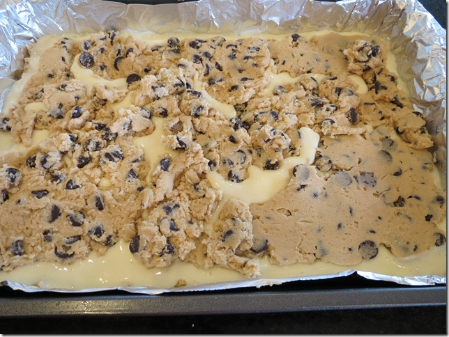 Cheesecake Chocolate Chip Cookie Bars unbaked