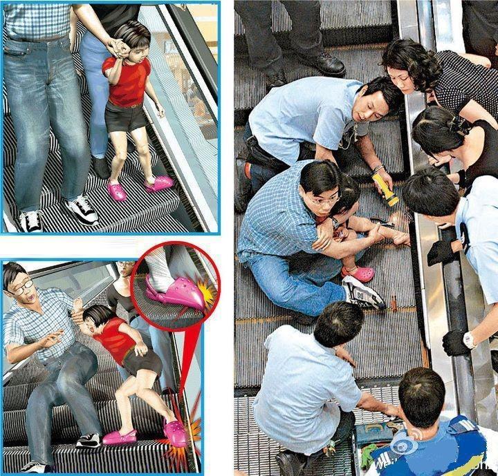 acidente crocs escada rolante crianca