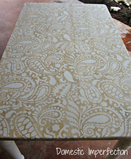 before stenciled table makeover