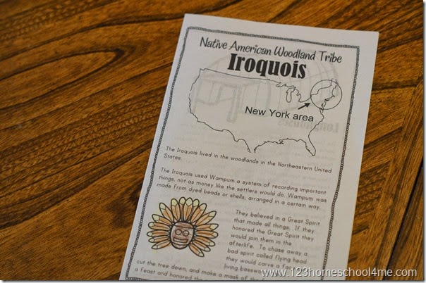 Native American Woodland Tribes Worksheets for Kids - Homeschool elementary kids will love learning about Indians in this fun hands on history unit with FREE printable mini books and worksheets.