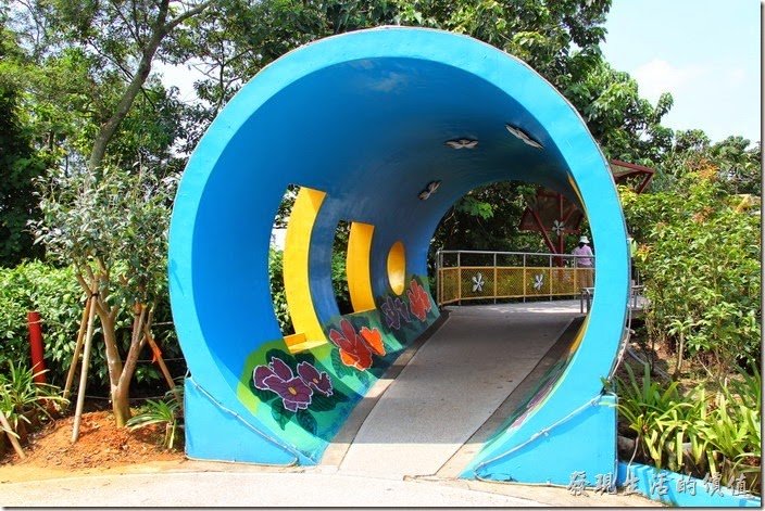 南投-天空之橋。猴探井風景區內的水管造型通道。