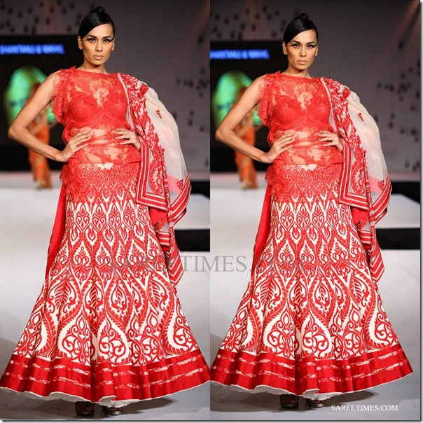 shantanu nikhil_red_cream_lehenga