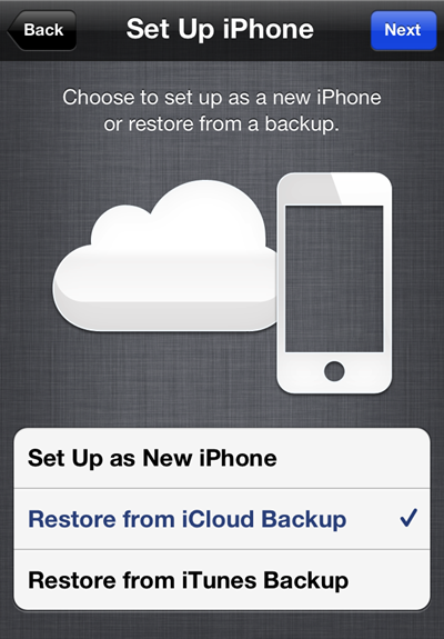 Restoring an iPhone from iCloud