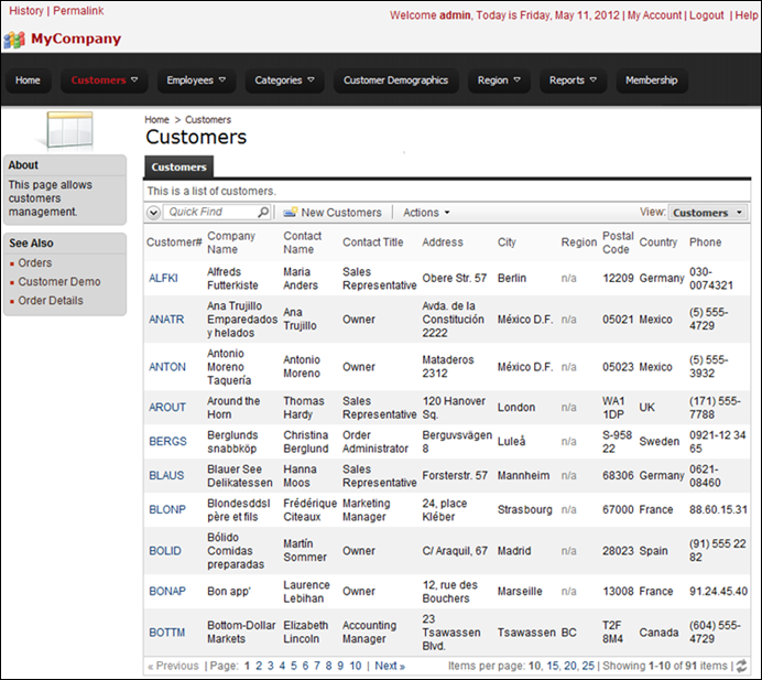 Customers page in Code On Time web application using tabbed layout. The child data view tabs are hidden.