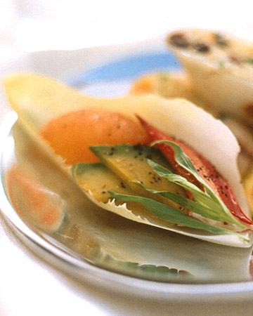 Endive Spears with Lobster, Avocado, and Grapefruit: Endive leaves serve as little cups to hold lobster, avocado, and grapefruit in this noteworthy appetizer. You could also use crab or shrimp as a substitute for the lobster.