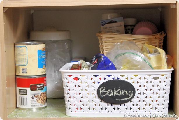 kitchen organization baking shelf