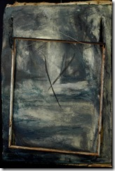 John Luna - Messenger_ingresso_front - Oil. beeswax. charcoal and metal wire on canvas mounted on papier mache - 29 x 19 inches