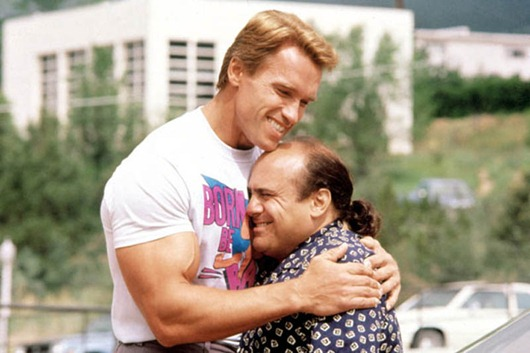 'Twins' film - 1988...No Merchandising. Editorial Use Only<br /> Mandatory Credit: Photo by c.Universal/Everett / Rex Features ( 602265b )<br /> 'Twins' - Arnold Schwarzenegger and Danny DeVito<br /> 'Twins' film - 1988<br /> <br />