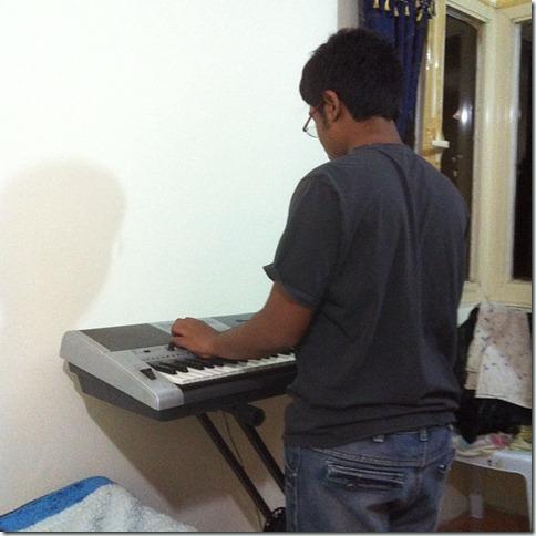 practising piano