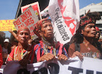 Indigenous Peoples marched to Mendiola to demand justice for victims of human rights violations and demand an end to large-scale mining in Mindanao.(Photo by Anne Marxze Umil)