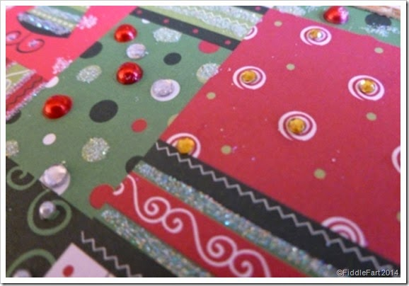 Gemmed patchwork Christmas Card