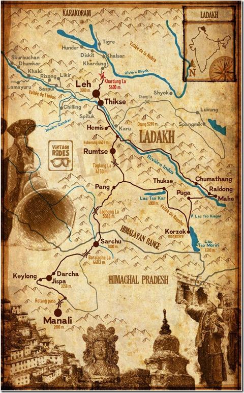 Carte Transhimalayenne LADAKH