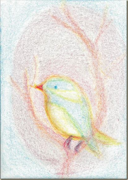 Chickadee Block Crayon Drawing