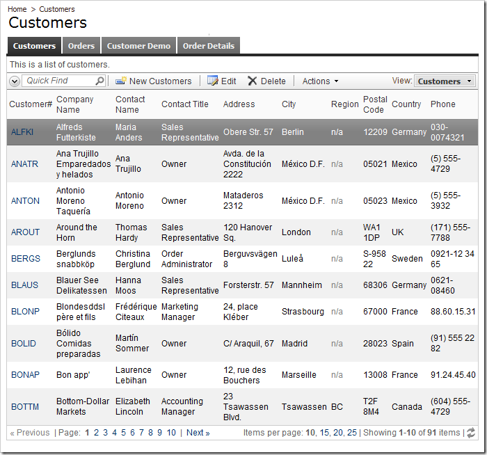 Customers page with master record selected using Tabbed layout. The child data view tabs are displayed.