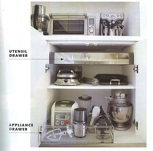 In the November 2009 issue of Martha Stewart Living I had a feature focusing on organizing my kitchen. You can see my espresso machine at the top. Small accessories and organization are the keys to having a small kitchen.