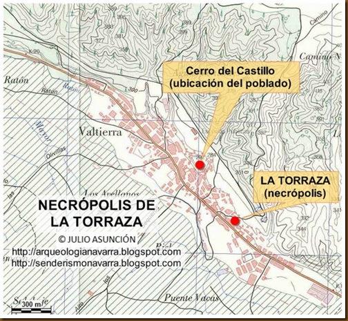 Mapa necrópolis de la Torraza - Valtierra