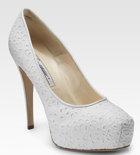 I'm obsessed with these cotton-covered floral eyelet pumps by Brian Atwood (www.saksfifthavenue.com).