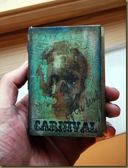 andy skinner skull art altered book cover