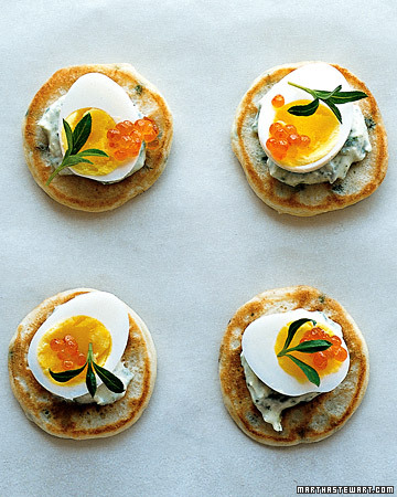 Chive Vlini With Creme Fraiche, Quail Eggs, and Tarragon. (marthastewart.com)