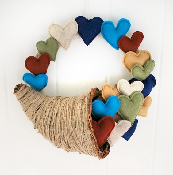Thanksgiving Cornucopia Heart Wreath by The Silly Pearl