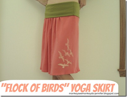 updated yoga skirt with freezer paper stenciled birds (1.11)