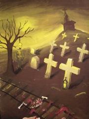 Cimitirul spanzuratul si resturile unui om calcat de tren pictura 2003 dupa moartea vecinei