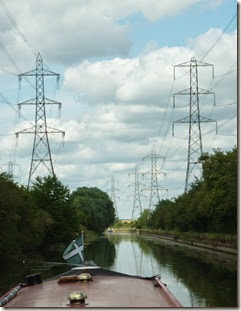 9 pylons marching up the lee navigation