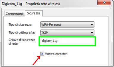 Chiave di sicurezza di rete passowrd WiFi mostrata in chiaro