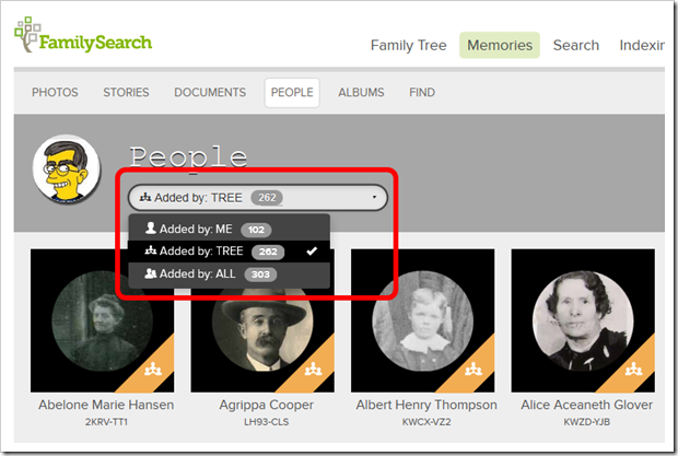 "The People page shows the memories added to the people in your ""scope of interest"""