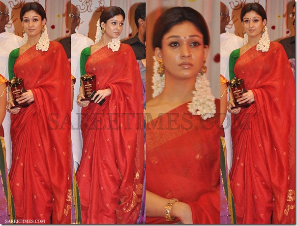 Nayanathara_Red_Traditional_Saree