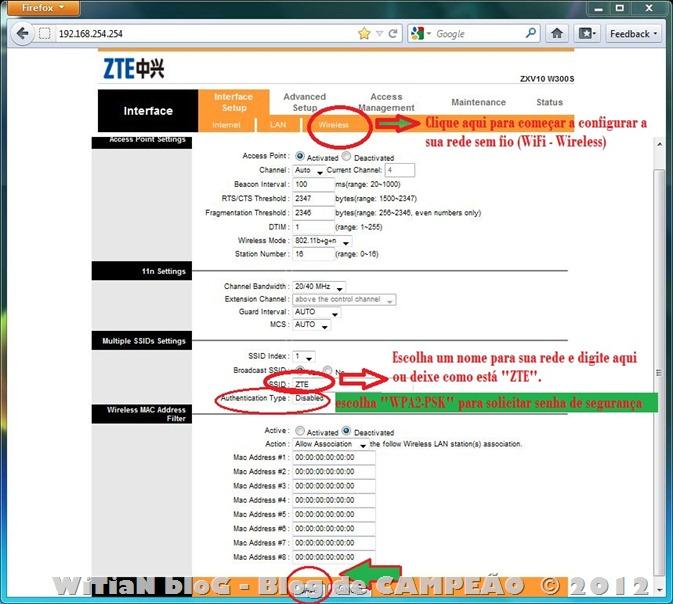 Como configurar o modem ROUTER WIRELESS Wi-Fi ZTE ZXV10 W300S para internet VELOX da Oi - rotear - conectar direto - automático - Login e senha - 004