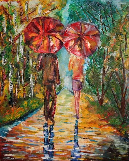 Two Red Umbrellas Ruslana Lev