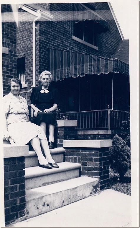 GILLESPIE_Susan sitting on steps with Aunt Lulu