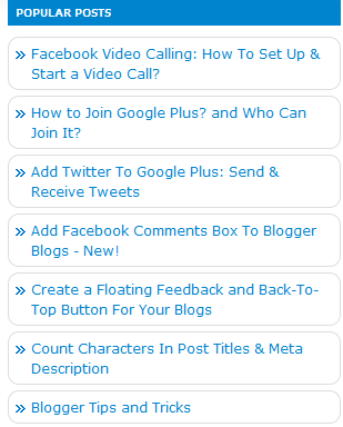 Popular posts widget