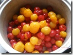 Sour cherries tomatoes cooking