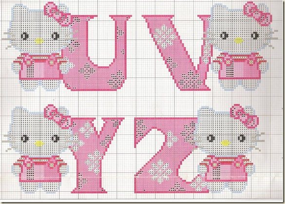Ponto-Cruz-Abecedário-Hello-Kitty-U-V-Y-Z