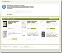 San Diego Genealogical Society collections published via Ancestry.com Content Publisher