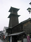The Kawagoe bell tower. In and around Tokyo, you don&#039;t see many old wooden structures like this.